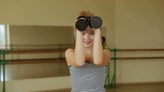 Young healthy girl is engaged with dumbbells. Fitness. Sport. Health. Close-up. Stock Footage