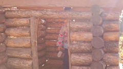 A little girl looks out the window of a wooden house in the Park. Stock Footage