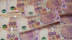 Argentinian Peso Bills flies and leave an space full of Dollar Notes Stock Footage