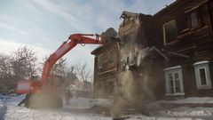 The process of demolition and destruction of the old wooden building Stock Footage