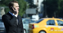 Business Man Talking Mobile Phone Receiving Disappointed Result Cars Traffic Cit Stock Footage