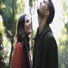 Couple in forest in Fall Stock Footage