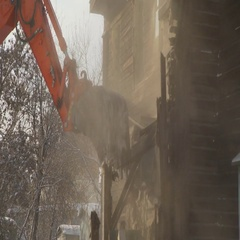 Close-up of rundown building. Breaks the walls of the building Stock Footage