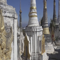 Walking in Shwe Inn Thein Paya temple, Myanmar Stock Footage