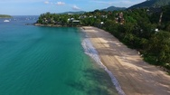 Aerial: Beautiful water on Kata Noi beach. Stock Footage