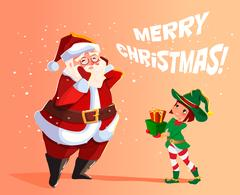 Elf Santa s assistant with gifts Stock Illustration