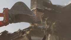 Slow motion: Demolition of the old building. Rundown building Stock Footage
