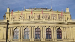 Windows of The Rudolfinum Concert Hall in Prague Stock Footage