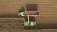 Drone footage of silage harvester collecting crops in field on sunny day Stock Footage