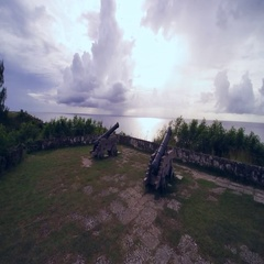 Old spanish coastal cannon fort. Stock Footage