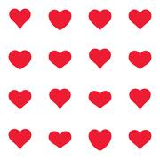 Set-of-various-simple-red-vector-heart-icons Stock Illustration