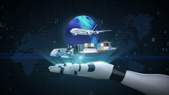 Growing Global transportation  with airplane, train,ship, car on robot arm, 2. Stock Footage