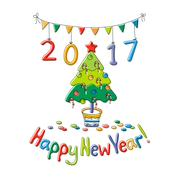 Happy New Year greeting card with fir Stock Illustration