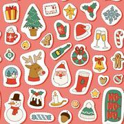 Christmas symbols vector pattern. Stock Illustration