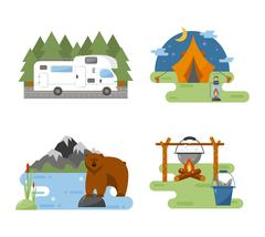 Set of camping equipment vector icons. Stock Illustration