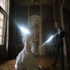 Funny bride and groom playing a Jedi with lightsabers Stock Footage