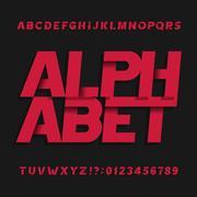 Decorative alphabet vector font. Oblique letters symbols and numbers. Stock Illustration