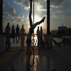 Street Pole dance on sunset out of focus stock footage video Stock Footage