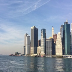 Lower Manhattan from Brooklyn Bridge Park. New Stock Footage