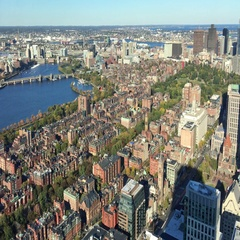 Boston skyline from a high vantage point on a beautiful day Stock Footage