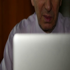 Elderly Man Used His Computer Stock Footage