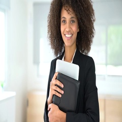 Portrait of attractive mixed-race businesswoman Stock Footage