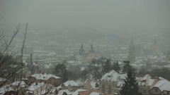 Beautiful winter panorama of the city of Lviv. Fairy tale view Stock Footage