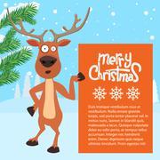 Reindeer cartoon showing or holding blank billboard Piirros