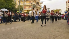 Greek students school parade to celebrate the national holiday. Stock Footage
