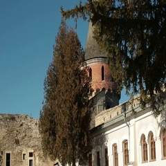 Panoramic view on medieval castle with towers on sunny day Stock Footage