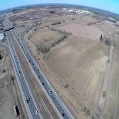 Transportation: 4 lane highway from above Stock Footage