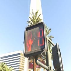 Las Vegas cross walk counting down Stock Footage