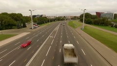 Typical volume traffic scene shot from the sky Stock Footage