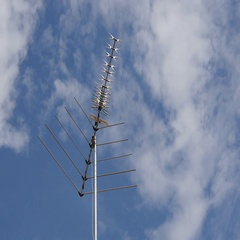 Old Tv Antenna. The Wind. Sunny Day. Clouds. Timelapse. Stock Footage