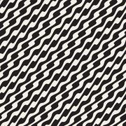 Wavy Diagonal Lines. Vector Seamless Black and White Pattern Stock Illustration