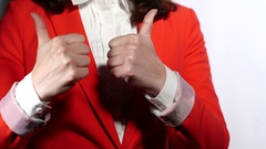Woman Showing Thumbs Up Sign Stock Footage