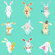 Little Girly Cute White Bunny Cartoon Character Different Activities And Stock Illustration
