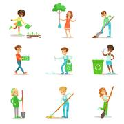 Children Helping In Eco-Friendly Gardening, Planting Trees, Cleaning Up Outdoors Stock Illustration