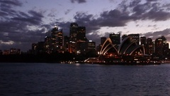 Sydney Central Business District skyline at dusk Australia  Stock Footage