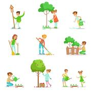 Children Helping In Eco-Friendly Gardening, Collecting Fruit, Cleaning Up Stock Illustration