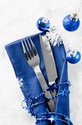 Christmas table place setting. Holidays background Stock Photos