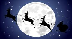 Santa Claus driving his sleigh in front of a full moon - illustration Stock Illustration