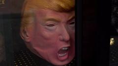 Donald Trump Mask Stock Footage