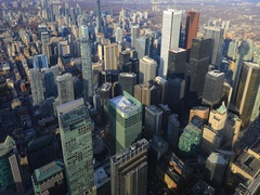 4K UltraHD Aerial timelapse over Toronto city center Stock Footage