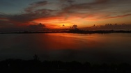 Beautiful Sunset In Cancun Aerial Shot Stock Footage