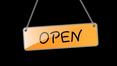 Animation open hanging signs for your business Stock Footage
