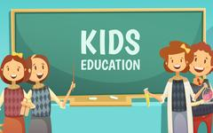 Kids Primary Education Cartoon Poster Stock Illustration