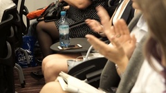Close-up of clapping hands of impressed people attending an impressing event. No Stock Footage