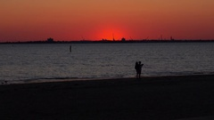 People Looking at Sunset. St Kilda, Melbourne. Stock Footage