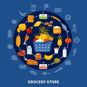 Grocery Food Supermarket Round Composition Piirros
